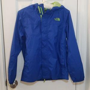 North Face Boys Rain Jacket Hood Pockets Blue